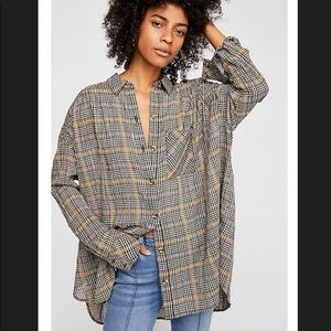 Free People Plaid Shirt Sz Medium